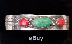 Vintage Navajo Sterling Silver Turquoise Coral Cuff Bracelet Signed