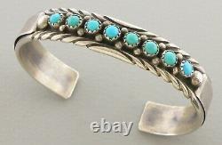 Vintage Navajo Sterling Silver Turquoise Cuff Bangle Bracelet