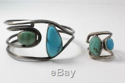 Vintage Navajo Sterling Silver Turquoise Cuff Bracelet & Ring