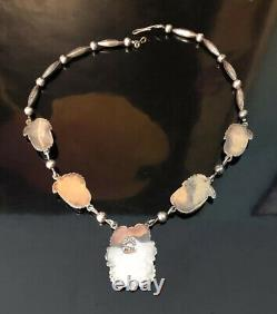 Vintage Navajo Sterling Silver & Turquoise Squash Blossom Necklace 24 Signed EW