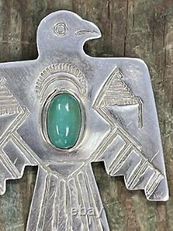 Vintage Navajo Sterling Silver Turquoise Thunderbird Pendant