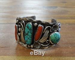 Vintage Navajo Sterling Silver Turquoise and Coral Cuff Bracelet