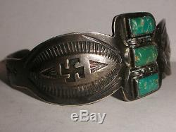 Vintage Navajo Sterling Silver turquoise bracelet Fred Harvey era Whirling Logs
