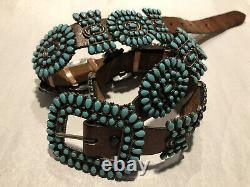 Vintage Navajo Sterling/Turquoise Concho Belt Famous Victor Moses Begay 35 20pc