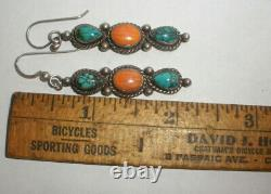 Vintage Navajo Sterling silver turquoise coral long earrings old pawn