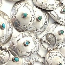 Vintage Navajo Style Etched Sterling Silver Turquoise Concho Belt 36.5 128.6g