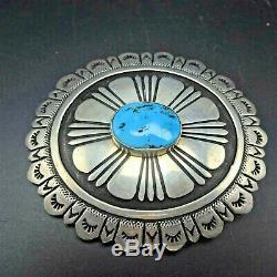 Vintage Navajo TOMMY SINGER Hand-Stamped Sterling Silver TURQUOISE Belt BUCKLE