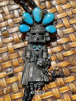 Vintage Navajo Thomas Byrd Red Mesa Turquoise Silver Sunface Kachina Bolo Tie