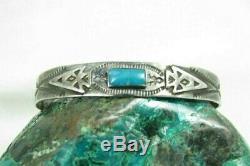 Vintage Navajo Turquoise Arrowhead Arrows Thunderbird Sterling Cuff Bracelet
