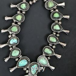 Vintage Navajo Turquoise Green Blue Sterling Silver Squash Blossom Necklace