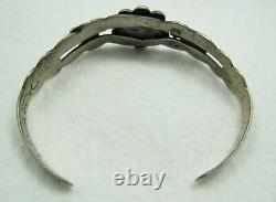 Vintage Navajo Turquoise Silver Thunderbird Stamped Arrows Cuff Bracelet