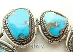 Vintage Navajo Turquoise Squash Blossom Naja Sterling 3 3/8 Necklace Pendant