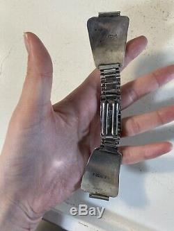 Vintage Navajo Turquoise Stainless Steel Watch Band (Signed H D Yazzie)