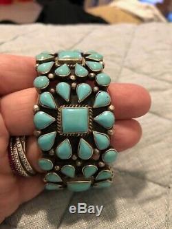 Vintage Navajo Turquoise TRIPLE Squash Blossom Sterling Silver Signed Bracelet