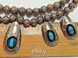 Vintage Navajo Vera Tsosie Signed Turquoise Necklace Sterling Silver Shadowbox
