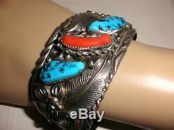 Vintage Navajo large sterling silver turquoise coral men`s bracelet M Thomas jr