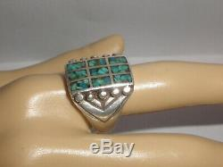 Vintage Navajo old pawn sterling silver turquoise mens ring size 9