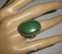 Vintage Navajo old pawn sterling silver turquoise ring size 7.5 Fred Harvey era