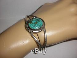 Vintage Navajo sterling silver cuff bracelet turquoise Pat Platero signed PP