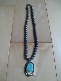 Vintage Navajo sterling silver pearls necklace and turquoise pendant