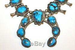 Vintage Old NAVAJO Sterling Silver Pyrite Turquoise Squash Blossom Necklace