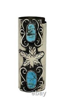 Vintage Old Navajo Sterling Silver Turquoise Cigarette Lighter Case Holder