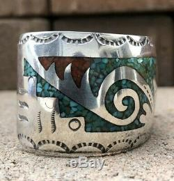 Vintage Old Navajo Sterling Turquoise & Coral Chip Inlay Cuff Bracelet Hmij
