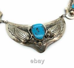 Vintage Old Pawn 3-Section Sterling Silver & Turquoise Necklace