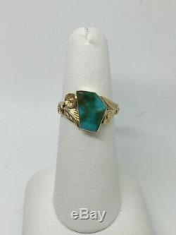 Vintage Old Pawn NAVAJO 14K Yellow Gold Turquoise Ring Size 6