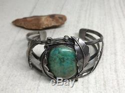 Vintage Old Pawn NAVAJO Sterling Silver TURQUOISE 6.75 Cuff Bracelet (40.1g)
