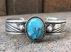 Vintage Old Pawn Native American Navajo Kingman Turquoise Silver Cuff Bracelet