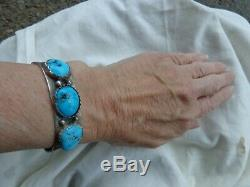 Vintage Old Pawn Native American Navajo Turquoise Stamped Silver Cuff Bracelet