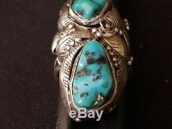Vintage Old Pawn Native American Sterling and Turquoise Ring Tom Willete