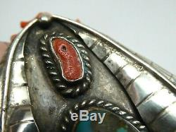 Vintage Old Pawn Navajo Feather Sterling Blue Turquoise Coral Necklace Pendant
