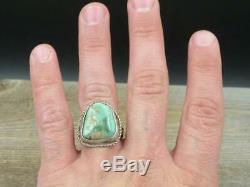 Vintage Old Pawn Navajo Sterling Silver Carico Lake Turquoise Men's Ring Sz 11
