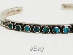 Vintage Old Pawn Navajo Sterling Silver Turquoise Petit Point Cuff Bracelet
