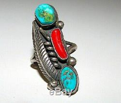 Vintage Old Pawn Navajo Sterling Turquoise Coral Ring Sz 5 Native American