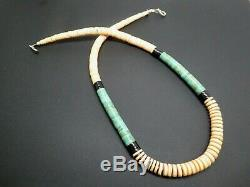 Vintage Old Pawn Navajo Turquoise Shell Heishi Rose Castillo 925 Necklace 20