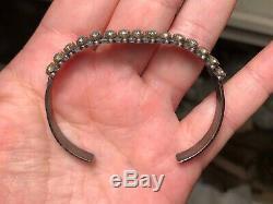 Vintage Old Pawn Navajo or Zuni Sterling Silver & Petit Point Turquoise Bracelet
