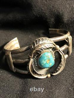 Vintage Old Pawn Sterling Silver NAVAJO ROYSTON TURQUOISE Cuff Bracelet 44g