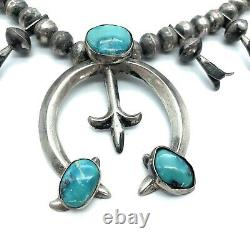 Vintage Old Pawn Sterling Silver & Turquoise Sandcast Squash Blossom Necklace