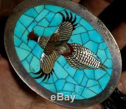 Vintage Old Pawn ZUNI AD Banteah Pheasant Gem Grade Flush Set Turquoise Bolo Tie