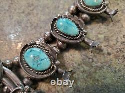 Vintage Old Sterling Silver & Turquoise Squash Blossom Necklace 278 Grams