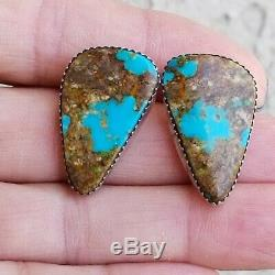 Vintage RUNNING BEAR RB NAVAJO Turquoise Sterling Silver 925 Clip On Earrings