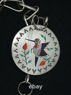 Vintage Raymond Boyd Navajo Sterling Silver Gemstone Inlay Hummingbird Necklace
