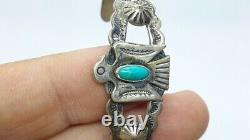 Vintage STERLING Thunderbird TURQUOISE FRED HARVEY Cuff BRACELET Trading Bell