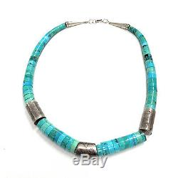 Vintage Santo Domingo Sterling Silver Fox Turquoise Heishi Bead Necklace
