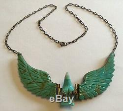 Vintage Sheila Tso Navajo Sterling Silver Turquoise Eagle Pendant Necklace
