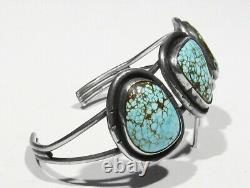 Vintage Signed 925 Silver FINEST #8 Spiderweb Turquoise Bracelet 6 & Ring sz 7