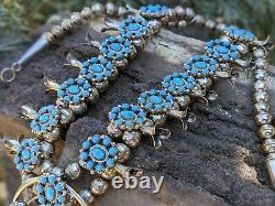 Vintage Squash Blossom Necklace Cluster Turquoise Signed Navajo Jewelry